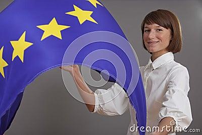 Woman waving european flag