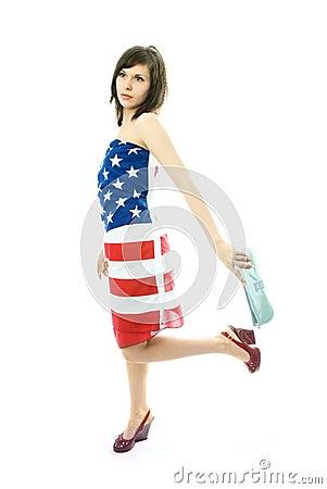 Woman wearing an American flag