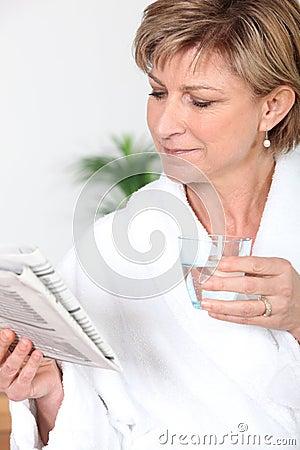 Woman wearing a bathrobe