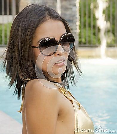 Woman wearing bikini in swimming pool