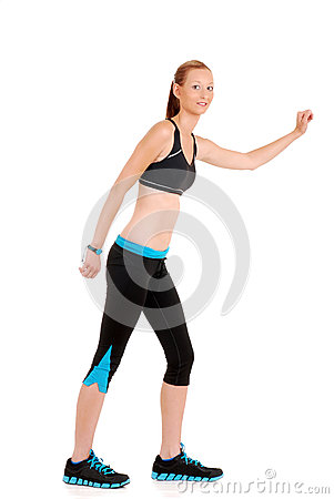 Woman wearing black blue zumba fitness outfit