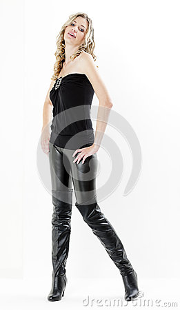 Woman wearing black boots