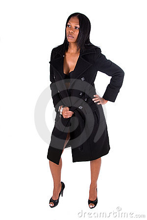Woman wearing black coat.