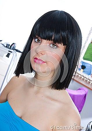 Woman wearing black wig
