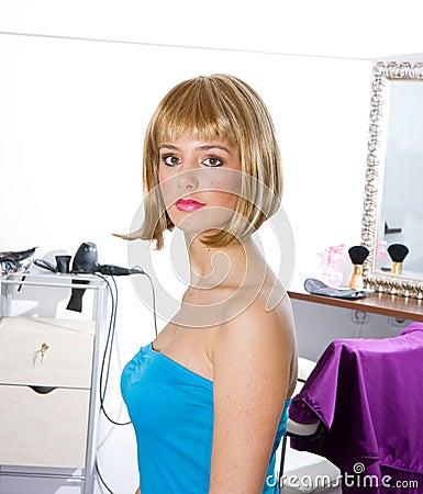 Woman wearing blond wig