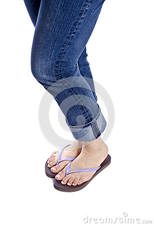Woman Wearing Blue Jeans and Flip Flops #2