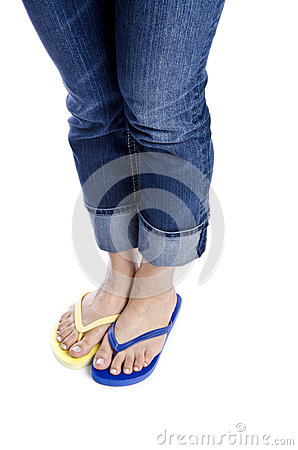 Woman Wearing Blue Jeans and Flip Flops #3