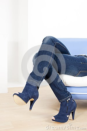 Woman wearing blue shoes