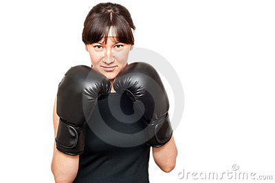 Woman wearing boxing gloves