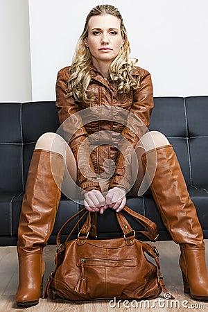 Woman wearing brown jacket