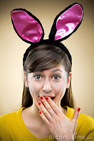 Woman wearing bunny ears