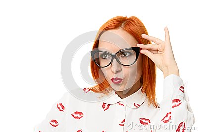 Woman wearing cat eye glasses