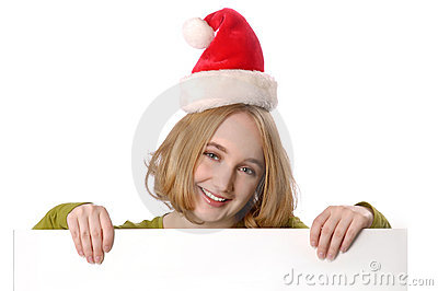 Woman wearing christmas holding blank sign