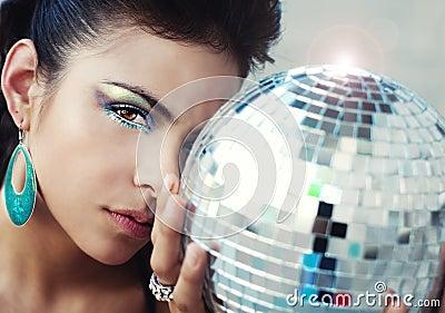 Woman wearing colorful eye makeup