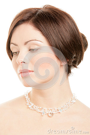 Free Woman Wearing Crystal Necklace Stock Image - 28914871