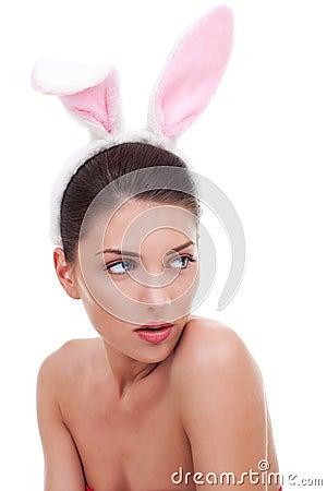 Woman wearing cute bunny ears