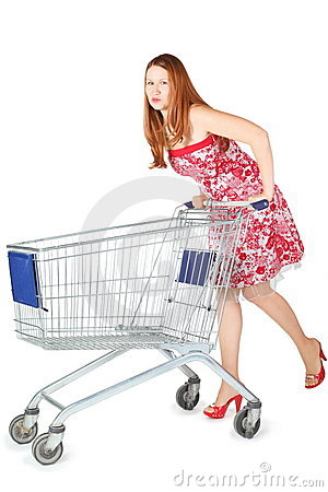 Woman wearing dress is moving shopping basket