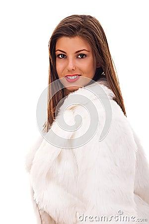 Woman wearing fashionable fur coat