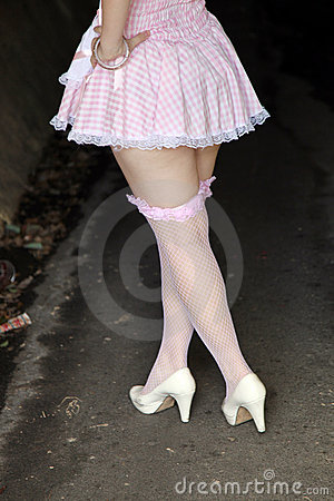Woman wearing fishnet stockings