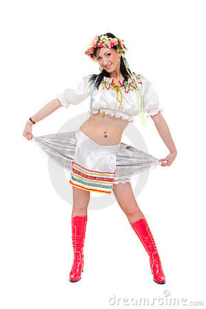 Woman wearing a folk ukrainian dress