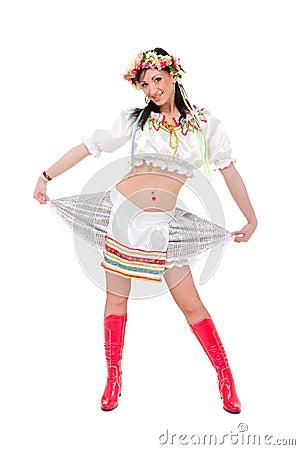 Woman wearing a folk ukrainian dress