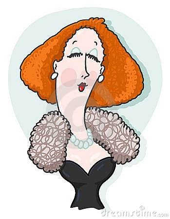 Woman wearing fur and pearls illustration