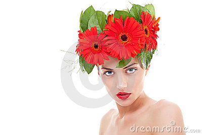 Woman wearing gerbera flowers