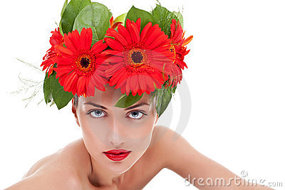Woman wearing a gerbera wreath