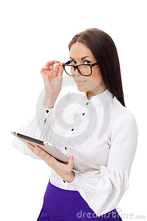 Woman wearing glasses holding tablet PC