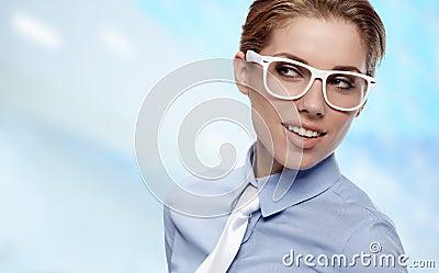 Woman Wearing Glasses in office