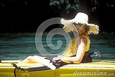 Woman Wearing Hat in Kayak