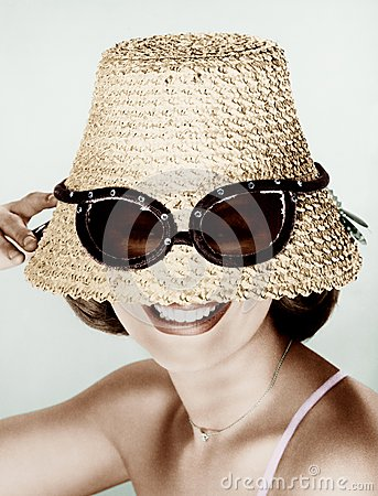 Free Woman Wearing Hat With Fake Sunglasses Stock Images - 52009244