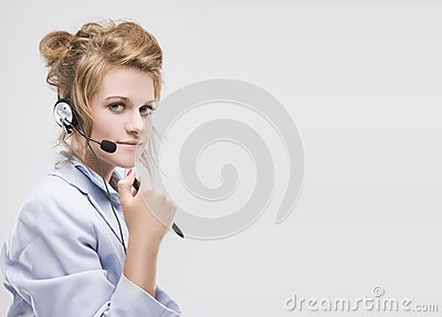 Woman wearing headset isolated