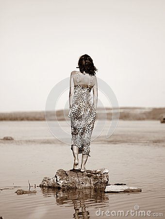 Woman Wearing Leopard Print Dress Standing On Stone On Body Of Water Free Public Domain Cc0 Image