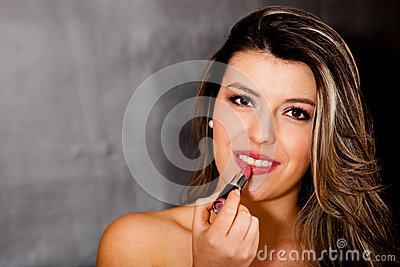 Woman wearing lipstick
