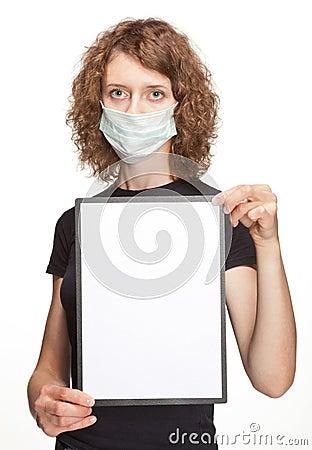 Woman wearing medical gauze bandage