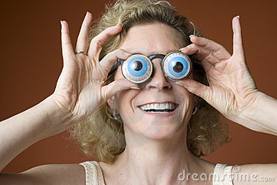 Woman wearing novelty eyeglasses