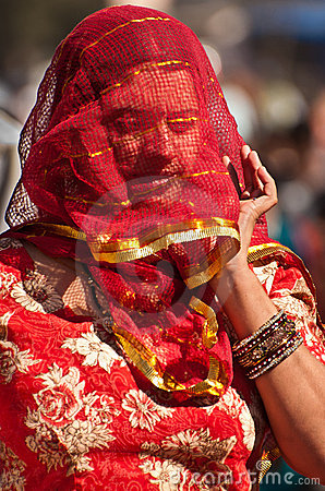 Woman wearing painted veil Editorial Image