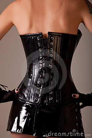 Woman wearing professional waist training corset