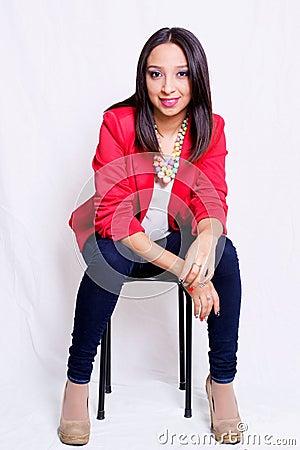 Woman Wearing Red Blazer Sitting On Black Stool Free Public Domain Cc0 Image