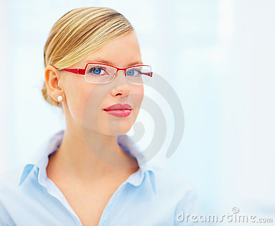 Woman wearing red color glasses