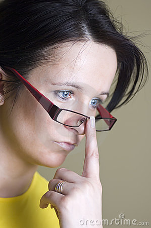 Free Woman Wearing Red Glasses Royalty Free Stock Photo - 4994025