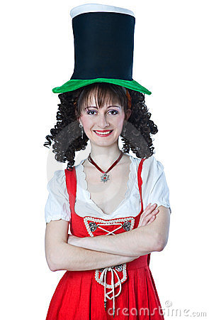 Woman wearing a Saint Patrick s Day hat
