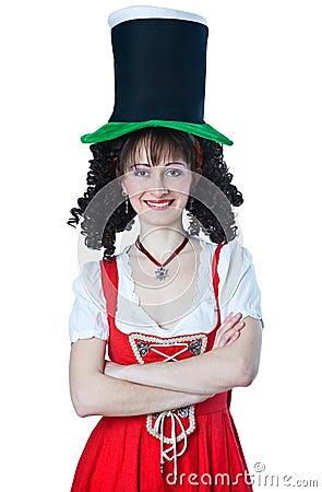 Woman wearing a Saint Patrick s Day hat