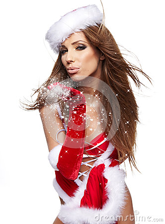 Woman wearing santa claus clothes