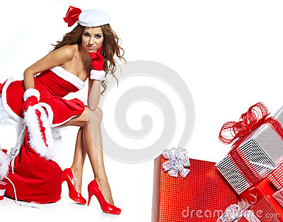 Woman wearing santa claus clothes