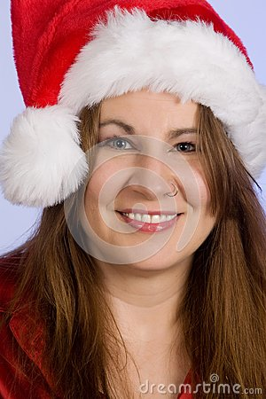 Woman wearing Santa Hat