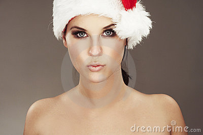 Woman wearing santas hat