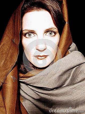 Woman Wearing Scarf Portrait 3