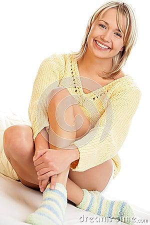 Woman wearing socks